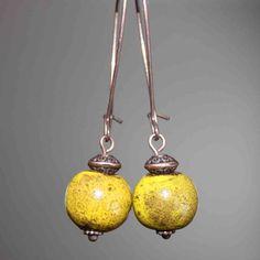 Yellow Ceramic Earrings Dangle Earthy Earrings Boho Chic earrings Porcelain earrings Copper Earrings Jewelry