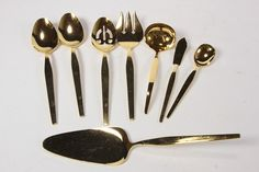 8 Nobility Pattern Stanley Roberts Japan Golden Hue Stainless Serving Pieces Lot
