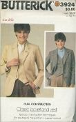 An original ca. 1970's Butterick Pattern 3924.  Misses Jacket and Vest. Loose-fitting lined jacket with purchased shoulder pads has notched collar and lapels, front button closing, front and back princess seaming, shaped patch pockets and hemline, full length two-piece effect sleeves with button and topstitch trim. Semi-fitted lined vest has V-neckline, front buttoned closing, front and back princess seaming, welt trim, shaped hemline and topstitch trim. Purchased tops and neckties.