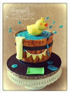 Rubber Duck in a Tub Baby Shower Cake
