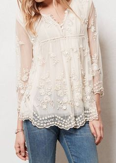 Elora Peasant Top by Anthropologie. I am in love with this romantic top. Gorgeous. - Hulda High Fashion Clothing