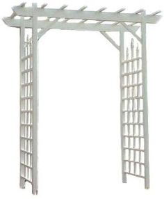"Duratrel Model 11141 White Camelot Arbor by Duratrel. $197.98. Never needs paint, won't turn yellow in the sun, will not crack, fade, chip, peel or rot. Easy to Assemble; pre-cut and pre-drilled holes with all hardware included. Great gift idea. 2 by 2-Inch posts with pergola style arbor top. Made of durable white maintenance-free PVC plastic. Camelot Arbor is 50"" Wide x 84"" High x 28"" Deep. Features a 20 year warranty and cleans easily with soap and water. Walkthrough Di..."