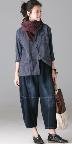 Chinese Style Casual Blue Plaid Cotton Linen Coat For Women Mode Outfits, Fashion Outfits, Womens Fashion, Looks Style, My Style, Casual Dresses, Casual Outfits, Style Casual, Mode Hijab
