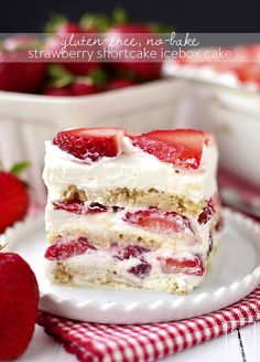 Gluten-Free No-Bake Strawberry Shortcake Icebox Cake is the perfect gluten-free summer dessert recipe. Just 5 ingredients and make-ahead, too! | iowagirleats.com