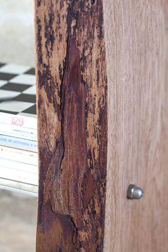 Libreria in legno di mogano, realizzato usando la stessa sezione di tronco divisa a meta con mensole sostenute da un innesto realizzato a mano, levigato e spazzolato, finitura ad olio