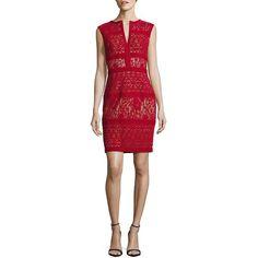 Tadashi Shoji Cap Sleeve Velvet Cutout Sheath Dress ($269) ❤ liked on Polyvore featuring dresses, red rockin, v neck sheath dress, red velvet dress, velvet dress, red sleeveless dress and red cut-out dresses