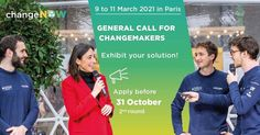 This is a #GeneralCall for changemakers! 📣 Are you innovating to change the world? Are you looking for partners, investors or visibility? 🚀 Exhibit your solution at ChangeNOW Summit 2021, the largest gathering of innovations on the planet that will take place in Paris from March 9-11th. You'll have the opportunity to increase your business opportunities and impact by exhibiting your solution in the heart of the event, with privileged access and visibility to the international ecosystem of… Change Maker, In The Heart, Business Opportunities, Change The World, Investors, Business Planning, Exhibit, Opportunity, Innovation