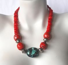 Red Coral Chunky Necklace with Turquoise Nugget Focal. Handmade Statement Necklace, Handmade Beaded Jewelry, Handmade Necklaces, Jewelry Necklaces, Jewellery, Bracelets, Red Necklace, Short Necklace, Strand Necklace