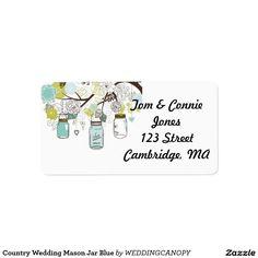 Country Wedding Mason Jar Blue Custom Address Labels