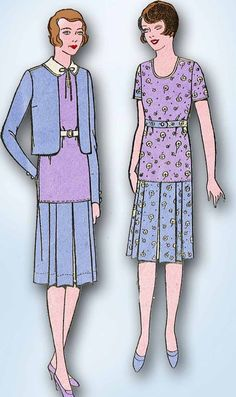 1920s Pictorial Review Sewing Pattern 5105 Junior Girls Flapper Suit Size 12 30B #PictorialReview #FlapperSuitPattern