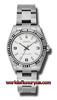 177234-WAIO - This Rolex Oyster Perpetual No-Date Mid-Size Mens Watch, 177234-WAIO features 31 mm Stainless Steel case, White dial, Sapphire crystal, Fixed bezel, and a Stainless Steel bracelet. Rolex Oyster Perpetual No-Date Mid-Size Mens Watch, 177234-WAIO also features Automatic movement, Analog display. This watch is water resistant up to 30m/100ft. - See more at: http://www.worldofluxuryus.com/watches/Rolex/No-Date/177234-WAIO/641_802_6411.php#sthash.jY1W5pdt.dpuf