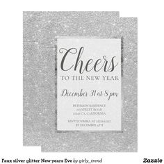 Faux silver glitter New years Eve Card