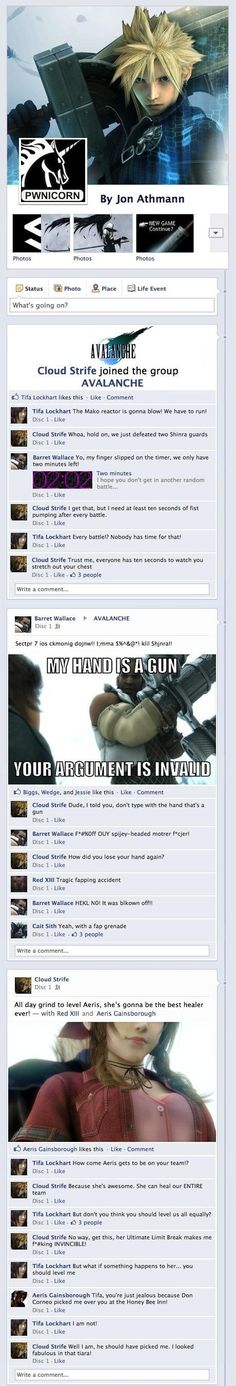 Final Fantasy VII on Facebook. Hahahaha. Oh, the Honey Bee In. Seriously though, that sector was SO much fun.