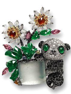 PROPERTY OF A GENTLEMAN MULTI-COLOURED JADEITE, GEM-SET AND DIAMOND 'PANDA' BROOCH, MASON TSAI
