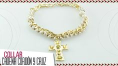 Cómo hacer collar trenzado en cordón y cadena dorada Kit 26346   VARIEDA...