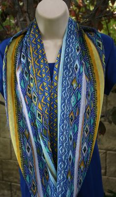 Yellow Green Blue Turquoise Infinity Scarf Wrap Striped Triangle Pattern