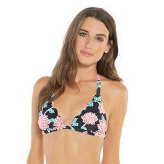 Women's Floral Fixed Triangle Scallop Bikini Top - Vanilla Beach