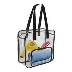 Clear zippered tote bag that features two convenient carry handles and a zippered top closure to keep your items secure at stadium or public events. Clear PVC material complies with legislation that requires see through and transparent needs when entering sports arenas. Made from double-polished 100% PVC. Material thickness is 0.3mm.