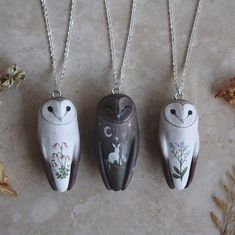 A little barn owl trio, part of the group of commissioned barn owls from the last shop update. Just a couple more to finish and soon they'll all have flown over to their new homes For those who have been asking or wondering, I'll be making another large batch of owl necklace and rings for the holidays so they can be gifted to loved ones or as treats to yourselves.