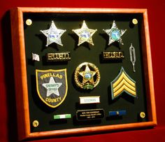 After a full law enforcement career, a shadow box is a great way to memorialize it! And, it creates a family heirloom that shows a piece of family history. ShadowBoxUSA.com