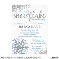 84 best baby shower invitations images on pinterest in 2018 winter baby shower invitation blue snowflake filmwisefo