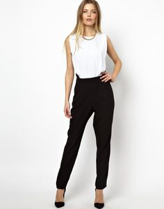 ASOS Jumpsuit In Monochrome With Mesh Back