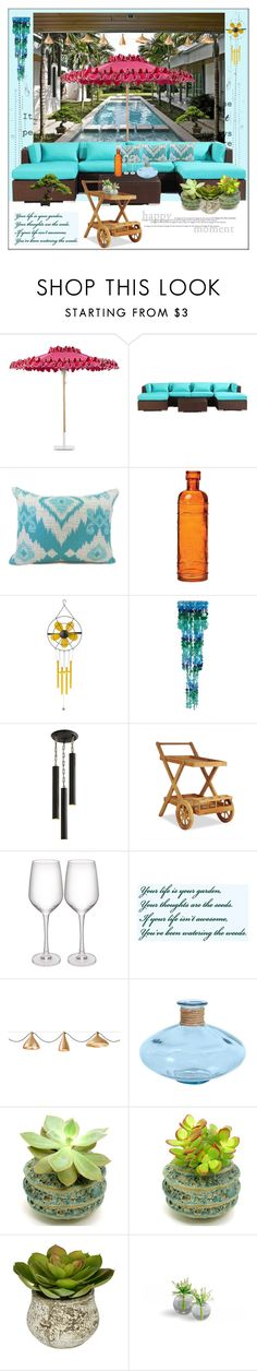 """""""Relaxing Poolside"""" by frenchfriesblackmg ❤ liked on Polyvore featuring interior, interiors, interior design, home, home decor, interior decorating, Santa Barbara Designs, Cultural Intrigue, Pier 1 Imports and Arteriors"""