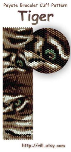 Tiger- winter fashion - Pattern Peyote Bracelet - Peyote Cuff Bracelet Pattern - tiger eyes seed bead pattern