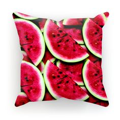 """""""We're not sure what's better. the thought of a juicy slice of watermelon right now or the eye-popping red of this pillow. Bed Pillows, Cushions, Throw Pillow Cases, Watermelon, Eye, Prints, How To Make, Color"""
