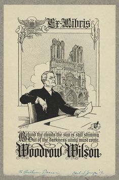 [Bookplate of Woodrow Wilson]. Junge, Carl S., 1880-1972,, bookplate designer. [ca. 1910?]. 1 print : woodcut ; bookplate 16.3 x 10.9 cm. Ruthven Deane Bookplate Collection, Library of Congress, Prints and Photographs Division.