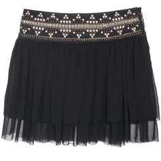 Pierre Balmain Sexy Dark Ethno Black // Pleated mini skirt with studs... (1.785 DKK) ❤ liked on Polyvore