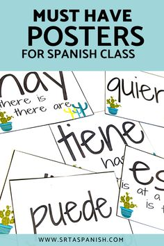 Check out ideas for Spanish classroom decor in elementary, middle, Spanish Classroom Posters, Spanish Bulletin Boards, Middle School Spanish, Elementary Spanish, French Lessons, Spanish Lessons, Spanish 1, Spanish Teacher, Teaching Spanish