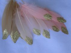 Gold Glitter Dipped Feathers  Boho Party  by WildOneFeathers