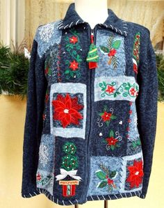 Heirloom Collectiles Embellished Christmas Trees Poinsettias Topiary Sweater ML #HeirloomCollectiblesHolidayCollection #Cardigan #Christmas