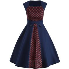Vintage Polka Dot Color Block Swing Dress (60.650 COP) ❤ liked on Polyvore featuring dresses, colorblocked dress, vintage polka dot dress, trapeze dresses, blue dot dress and vintage dresses