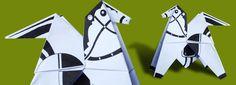 Origami de cavalo. Tutorial em vídeo e modelo em PDF para imprimir.