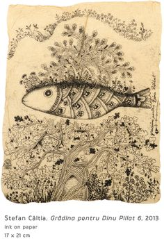 #13 Gradina pentru Dinu Pillat (6) Underwater Art, Fish Tales, Modern Art, Vintage World Maps, Drawings, Illustration, Paintings, Summer, Etchings