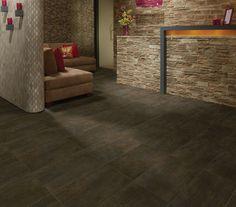 Photo features Daltile Copper Haze 12 x 24 field tile in a grid pattern on the floor. Dal Tile, Concrete Look Tile, Leed Certification, Natural Stone Flooring, Granite Tile, Spa, Luxury Vinyl, Floor Design, Kitchen Flooring