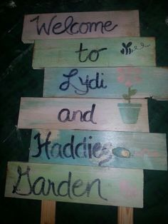 "My Granddaughters"" sign for their garden."