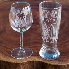 PERSONALIZED TREE TRUNK GLASSWARE DUO   etched, custom pint glass   UncommonGoods