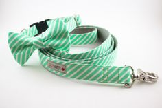 For Renzo, for the Wedding :) Bright Mint Stripes Dog Bow Tie Collar by SillyBuddy on Etsy