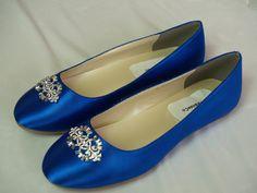Wedding Flat Royal Blue Shoes with Brooch  Royal by NewBrideCo, $98.00