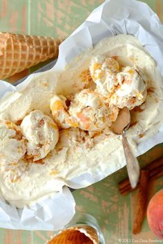 Caramelized Peaches with Brown Sugar & Cinnamon No-Churn Ice Cream  http://ciaochowbambina.com