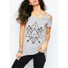 $14.62 Trendy Scoop Neck Short Sleeve Letter and Geometric Print Women's T-Shirt