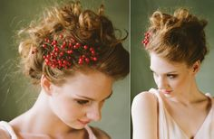 Put red berries or mistletoe in the bridesmaid's of flower girl's hair and have the bride wear something a little more flamboyant...