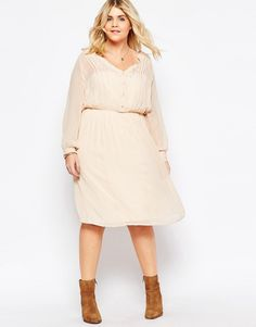 Image 4 of ASOS CURVE Soft Drapey Shirt Dress With Pintuck Detail