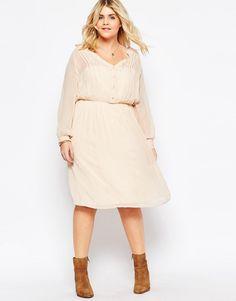 Image 4 ofASOS CURVE Soft Drapey Shirt Dress With Pintuck Detail