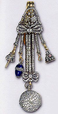 Diamond watch with pendants and charms were very popular among Russian courtiers of the 18th century. They wore it on the right side of the gown or pinned to the waistband. This one was made in 1770 by German jeweler in St Petersburg. Do you see a small blue egg pendant on the watch? This pendant could mean the owner got the watch as a present for The Easter from one of his/her relatives. A hundred years later this idea was performed by Faberge in his Eggs Collection|| Hermitage, St…