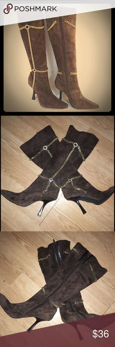 Susan Lucci brown suede boots Gorgeous boots! Hardly worn. Has gold chain accent. Full zip on the side. Susan Lucci Shoes Heeled Boots