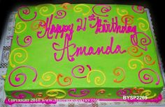 Sheet cake Neon green and pink cake with swirls 2019 Neon Birthday Cakes Neon Birthday Cakes, Birthday Sheet Cakes, Birthday Cakes For Teens, Birthday Cupcakes, Birthday Ideas, Birthday Nails, Birthday Parties, Pink Birthday, 12th Birthday